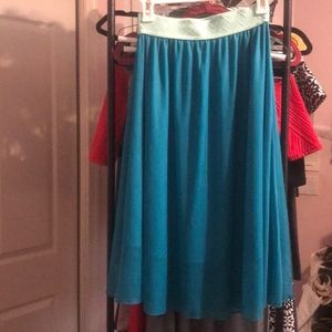 NWOT Banded skirt turquoise & aqua sparkly Lularoe